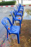 Blue plastic chair line. Background textures, abstract Royalty Free Stock Photo