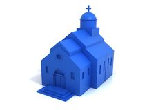 blue plastic church Stock Photo