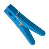 Blue plastic clothes pin Royalty Free Stock Photos
