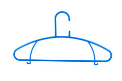 Blue plastic clothes rack hanger Stock Photo