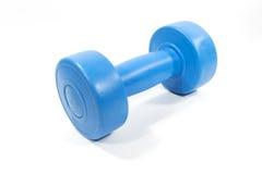 Blue plastic coated dumbbell. Isolated on white background Stock Photography