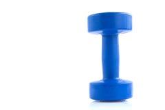 Blue plastic coated dumbells Stock Photos