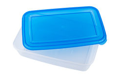 Blue plastic container for microwave isolated on white Stock Photo