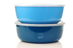 Blue plastic containers for food storage royalty free stock photos
