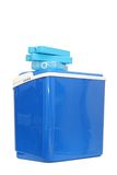Blue plastic cooling box. With refills over white background Royalty Free Stock Photos