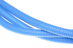 Blue plastic corrugated pipe Royalty Free Stock Photos