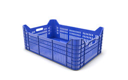 Blue plastic crate. 3d rendering Royalty Free Stock Image