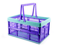 Blue plastic crate isolated Royalty Free Stock Photography