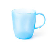 Blue plastic cup on white background Royalty Free Stock Photography