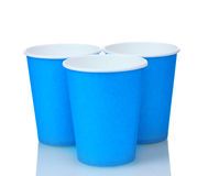 Blue plastic cups and Royalty Free Stock Images