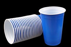 Blue plastic cups Stock Image