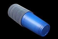 Blue plastic cups Royalty Free Stock Photos