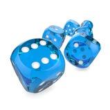 Blue plastic dice Stock Photos