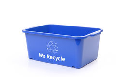 Blue plastic disposal bin Royalty Free Stock Image