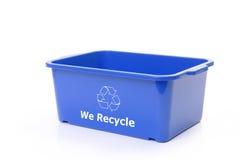 Blue plastic disposal bin royalty free stock image