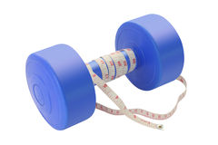 Blue plastic dumbbell with tapeline Royalty Free Stock Images