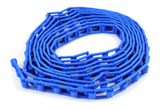 Blue plastic flat chain Stock Images
