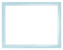 Blue plastic flat simple picture frame. With cut out canvas isolated on white background Stock Photos