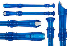 Blue plastic flute Royalty Free Stock Images