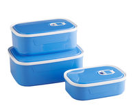 Blue plastic food boxes Royalty Free Stock Photo