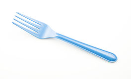 Blue Plastic Fork White Background Royalty Free Stock Photo
