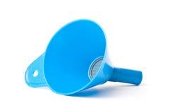 Blue plastic funnel Stock Image