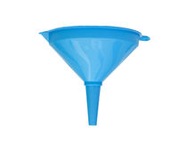 Blue plastic funnel Royalty Free Stock Photo