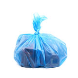 Blue plastic garbage bag isolated Stock Image
