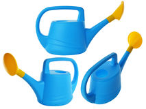 Blue plastic garden watering can isolated on white background. Set of garden watering cans from different angles Stock Images