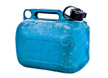 Blue plastic gas can. On white backgorund stock photography