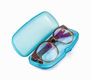 Blue Plastic Glasses Case isolated on white Stock Photography