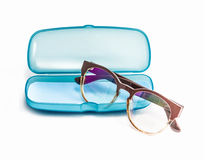 Blue Plastic Glasses Case isolated on white Royalty Free Stock Photography