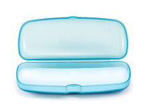Blue Plastic Glasses Case isolated on white Stock Images