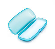 Blue Plastic Glasses Case isolated on white Royalty Free Stock Photos