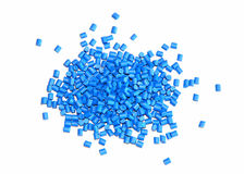 Blue plastic granulate. Blue thermoplastic granulate for molding processings Royalty Free Stock Image