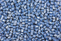 Blue plastic granulate pellets Stock Photos
