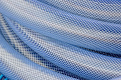 Blue plastic hose background. Detailed texture and pattern blue plastic hose Stock Photo