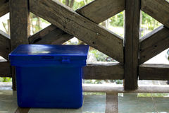 Blue plastic ice containment box. stock photo