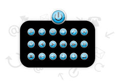 Blue Plastic Icons - Vector Royalty Free Stock Images