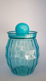 Blue plastic jar. With  on white Stock Photos