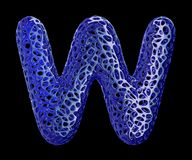 Blue plastic letter W with abstract holes. 3d Royalty Free Stock Images