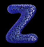 Blue plastic letter Z with abstract holes. 3d Royalty Free Stock Photography