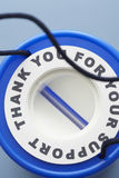 Blue plastic money box view from above Stock Images