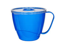 Blue plastic mug Stock Photos