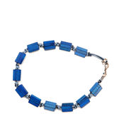 Blue plastic necklace Stock Photos