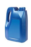 Blue plastic oil can stock photography