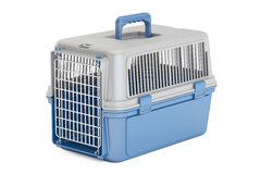 Blue plastic pet carrier, 3D rendering. On white background Stock Images