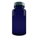 Blue Plastic Pill Bottle  isolated on white background. 3D rendered image on white Stock Images