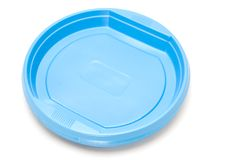 Blue plastic plate Royalty Free Stock Images