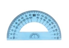 Blue plastic protractor ruler Royalty Free Stock Photo